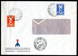 BE  Marcophilie  --  Obl. Mécanique / Machine   --  EXPO 58   Et  Timbres Europa 1958  --   Pays-Bas  --  Rare...
