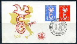 BE  Marcophilie  --  Obl. Mécanique / Machine   --  EXPO 58   Et  Timbres Europa 1958  --   Belgique  --  1 FDC