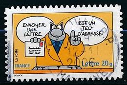 """France - Sourires """"Le Chat"""" De Philippe Geluck YT A58 (3827) Obl. Cachet Rond - Adhésifs (autocollants)"""