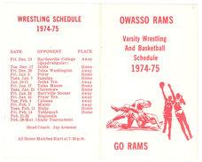 Dépliant OWASSO RAMS, Varsity Wrestling And Basketball Schedule ( Calendrier De Dates 1974/1975 ) / Lutte / Basket - Cartes