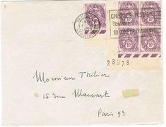 233 BLANC 10C 5 EXEMPLAIRES SUR DEVANT DE LETTRE DONT UN COIN DE FEUILLE - Marcophilie (Lettres)