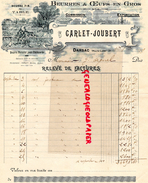 43- DARSAC- FACTURE CARLET JOUBERT- BEURRES OEUFS ENGROS-BEURRE PATISSERIE-LAITERIE LAIT-1919 - Alimentaire