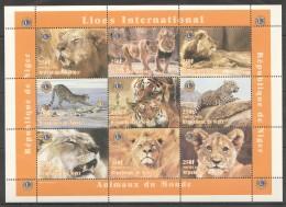 TT118 1998 DU NIGER FAUNA WILD CATS LIONS INTERNATIONAL 1SH MNH