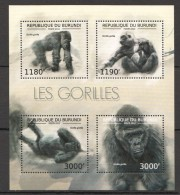 TT156 2012 BURUNDI FAUNA WILD ANIMALS MONKEYS LES GORILLES KB MNH