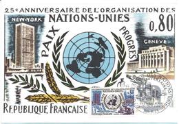 CARTE MAXIMUM 1er JOUR - N° 1658 - ANNIVERSAIRE NATIONS UNIES - Cartes-Maximum