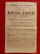 MINERAIS D ARGENT DE VALLENAR CHILI SOUSCRIPTION DIX FRANCS PAR ACTION 1869 - Historical Documents