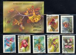 MADAGASCAR 1993, FLEURS ORCHIDEES, 7 Valeurs Et 1 Bloc,  Oblitérées/ Used. R614-15
