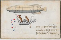 CPA Type THIELE Lapin Bunny Rabbit Position Humaine Circulé Aviation Zeppelin - Other