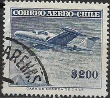 CHILE 1955 Air. Morane Saulnier Paris I -  200p. - Blue  FU - Chile