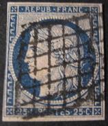 LOT OE/64 - CERES N°4a Bleu Foncé - GRILLE NOIRE - Cote : 70,00 € - 1849-1850 Ceres