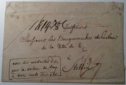 """Preussen GOLD MEDAILLE Ca 1780 Paketbegleitbrief """"BERLIN"""" > STETTIN """"AVEC DES MEDAILLES D' OR..."""" (Vorphilatelie Brief - Gold Coins"""