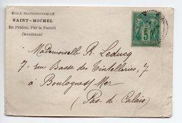 ENVELOPPE  AVEC 5c  TYPE SAGE VERT  -  CACHET  ECOLE  SAINT MICHEL EN PRIZIAC  PAR LE FAOUET - Postmark Collection (Covers)