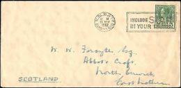 1938 THAILAND SINGLE SLOGAN CANCEL TO SCOTLAND - Francobolli