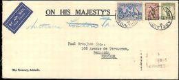 1937 AUSTRALIA MULTI STAMP ON OFFICIAL HIS MAJESTY'S SERVICE TO BELGIUM - Bolli E Annullamenti