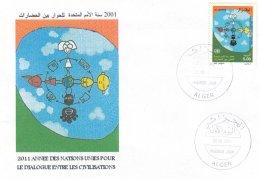 Algérie N° 1297 FDC Joint Issues Dialogue Among Civilizations Dialogue Entre Civilisations ONU 2001 - Emissions Communes