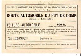 Carte  Route Automobile Du Puy De Dome - Titres De Transport