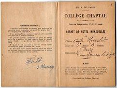 VP10.186 - 1927 - 1929 - Ville De PARIS - Collège Chaptel - Livret & Carnet De Notes Mensuelles - Diplômes & Bulletins Scolaires