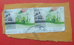 2016 CROATIAN STAMPS, THINK GREEN Postmark SPLIT ON PIECE OF ENVELOPE. - Croatie