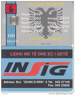 ALBANIA - Telecom Shqiptar 100 Units(reverse INSIG), Tirage 10000, 04/96, Used - Albania