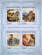 GUINEA 2017 - Neanderthals, Hornless Rhinoceros. Official Issue