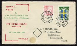 D1038 - SWEDEN 1956 Royal Visit British Queen QE2 Souvenir Cover To England