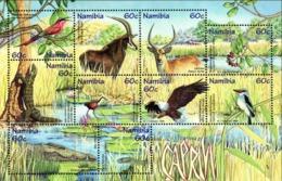 NAMIBIA 1998 Caprivi, Birds, Eagle, Crocodile, Animals, Fauna MNH