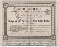 Action Obligation10 Juillet 1872 Société Industrielle Banque De Crédit Et D'émission 57 Rue Taitbout Paris Série I N° 7 - Banque & Assurance