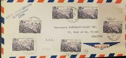 O)  1955 MARTINIQUE, MONT  PELE - LANDSCAPE,  MULTIPLE COVER  - SOIERIES HENRY CHANAVIS . LYON. XF TO USA - Covers & Documents