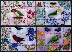 St. Maarten 2016 Birds Parrots Butterflies IX-XII 4SSs MNH