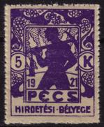 Mineworker Miner Mine - LOCAL City Revenue Advertising STAMP TAX - PÉCS - 1921 HUNGARY - MNH - Berufe