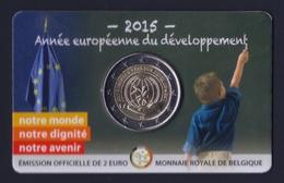 """2015 BELGIO """"ANNO EUROPEO PER LO SVILUPPO"""" 2 EURO COMMEMORATIVO FDC (COINCARD V1) - Belgio"""