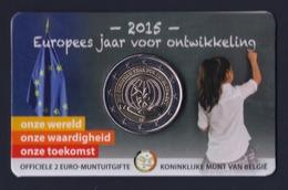 """2015 BELGIO """"ANNO EUROPEO PER LO SVILUPPO"""" 2 EURO COMMEMORATIVO FDC (COINCARD V2) - Belgio"""