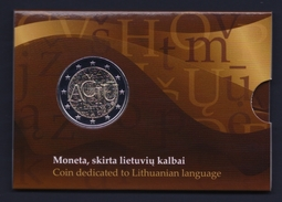 "2015 LITUANIA ""LINGUAGGIO LITUANO""  2 EURO COMMEMORATIVO FDC (COINCARD) - Lituania"