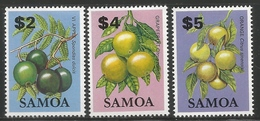 1983 Samoa Fruit HIGH VALUES Issued 30/11 Apple Orange Grapefruit Set Of 3 MNH