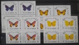 J27 Jordan 1993 Mi. 1487-1490 Complete Set 4v. MNH - Butterflies - Blks/4 - Jordan