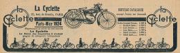 Ancienne Publicite (1924) : LA CYCLETTE, Vainqueur De Paris-Nice 1924, Bicyclette à Moteur, Vélomoteur - Publicités