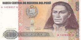 Pérou - Billet De 500 Intis - 26 Juin 1987 - Neuf - Tupac Amaru II - Pérou