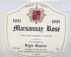 étiquette Vin Bourgogne 2 MARSANNAY ROSE 1991 BOUVIER - Bourgogne