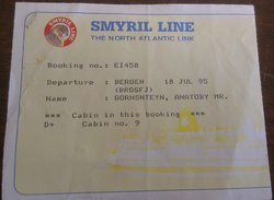 SMYRIL LINE BOAT TICKET BERGEN NORWAY To ICELAND THE NORTH ATLANTIC LINK 1995 ,regular Shipping 2$ - Schiffstickets