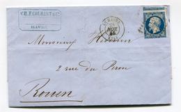FRANCE- Lettre Avec Correspondance Du 28 Novembre 1855 De LE HAVRE (74)- PC 1495- Y&T N°14A Avec Grand Voisin En Haut. - 1849-1876: Klassik