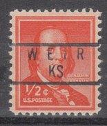 USA Precancel Vorausentwertung Preos Locals Kansas, Weir 837