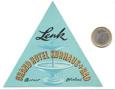 ETIQUETA DE HOTEL  - LENK  GRAND HOTEL KURHAUS   -BERNER - SUIZA (SUISSA)  ( CON CHARNELA) - Etiquetas De Hotel