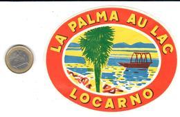 ETIQUETA DE HOTEL   HOTEL LA PALMA AU LAC  -LOCARNO  -SUIZA (SUISSA)  ( CON CHARNELA) - Etiquettes D'hotels