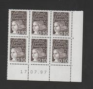 FRANCE / 1997 / Y&T N° 3086 ** : Luquet 0.10F Bistre-noir X 6 En Coin Daté 1997 07 17 ( ) - 2000-2009
