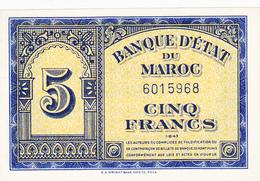5 Fr 01/08/1943 Billet Neuf Non Circulé - Maroc