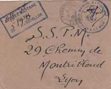 """LETTRE. 19 7 1946. ATELIER MILITAIRE DE SIDI-ABDALLAH. VERSO """"HONNI-SOIT-QUI-MAL-I-PENSE"""". TUNISIE. FERRYVILLE POUR LYON - Cachets Militaires A Partir De 1900 (hors Guerres)"""