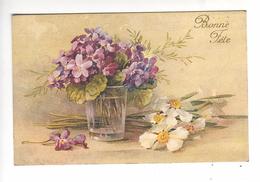 (n°837-2) CPA  KLEIN CATARINA Bonne Fete Violettes Dans Un Verre + Narcisses à Coté (série 242 N°1) - Klein, Catharina