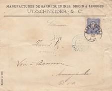 LETTRE. 7 9 1880. MANUFACTURES DE SARREGUEMINES-DIGOUIN & LIMOGES. ENTREE BLEUE ALLEMAGNE/PAG.PARIS. REDIRIGEE BEAUNE - Marcophilie (Lettres)