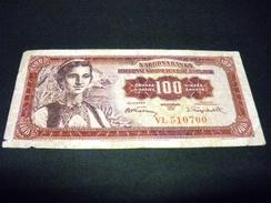 YOUGOSLAVIE 100 Dinara 01/05/1955 , Pick N° 69 , YUGOSLAVIA - Jugoslawien