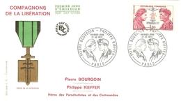 HB-P 191 FRANCE Enveloppe 1er Jour YT N°1773 (1973) Compagnons De La Lib° Bourgoin & Kieffer - Départ à 10% De La Cote ! - FDC